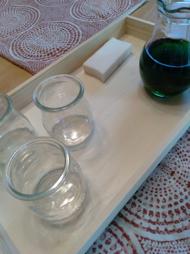 montessori water pouring activity.