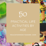 practical life activities by age pinterest graphic.