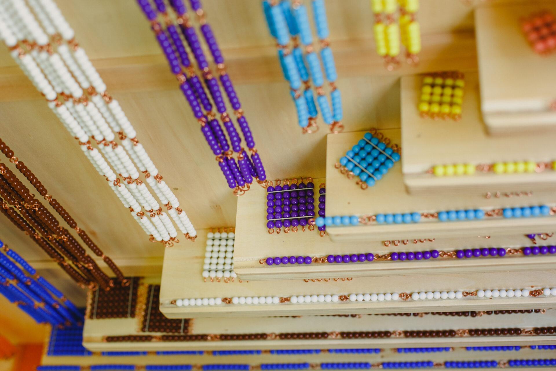 colored bead chains, montessori math material.