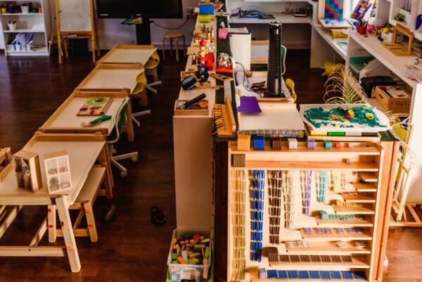 montessori classroom filled with montessori materials.
