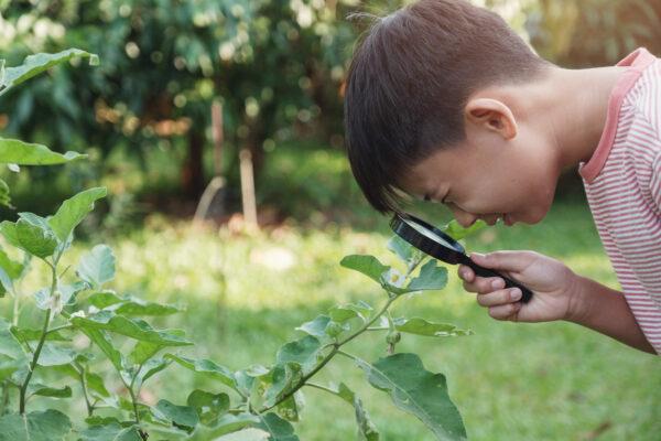 montessori child being creative outdoors.