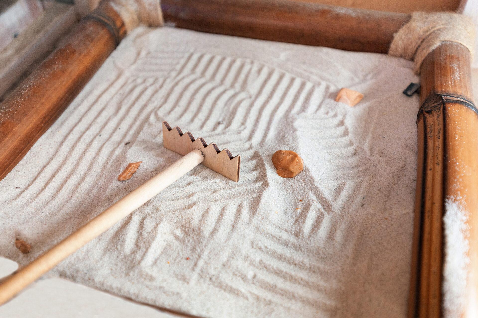 rake and sand for montessori peace corner.