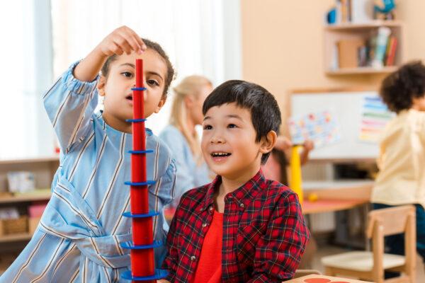 children being creative with Montessori materials.