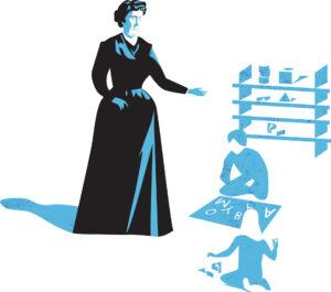 illustration of Maria Montessori teaching in classroom, Maria Montessori facts.