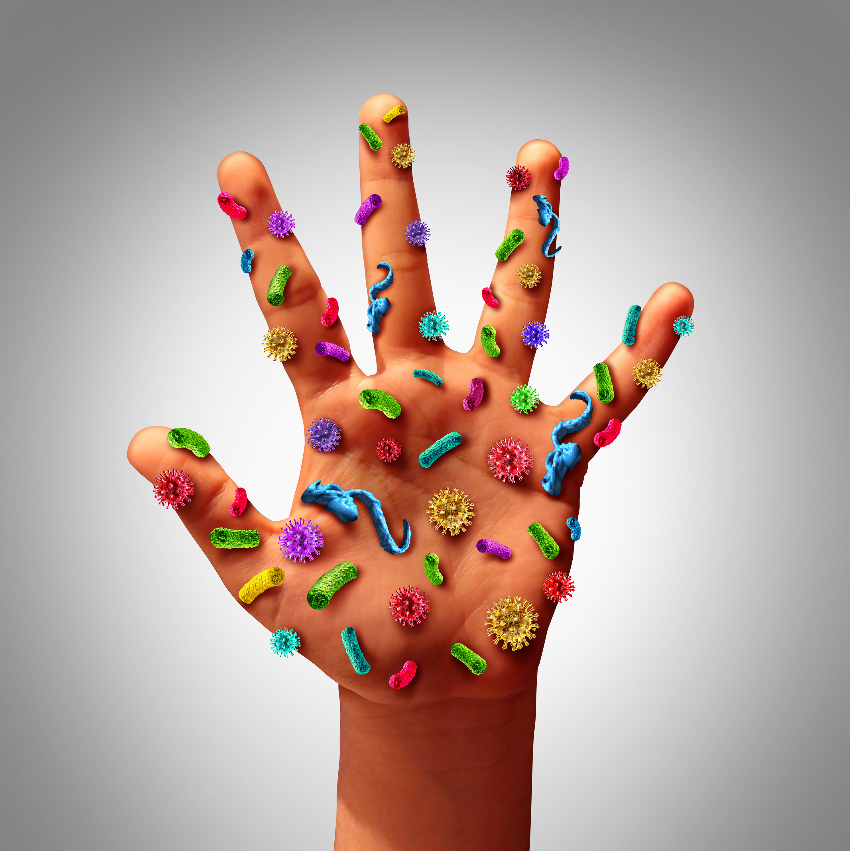 """""""Hand Washing for kids"""" image of a hand covered with cartoon germs."""