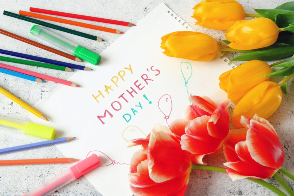 Mother's Day craft with flowers.
