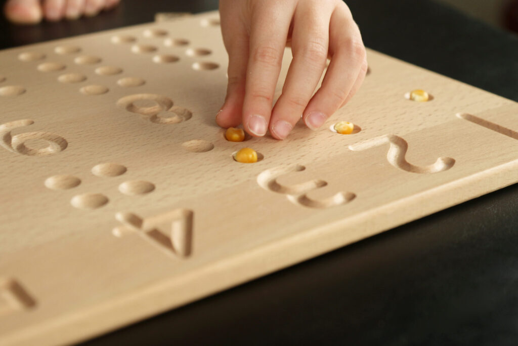 corn kernel 1:1 correspondence wooden board.