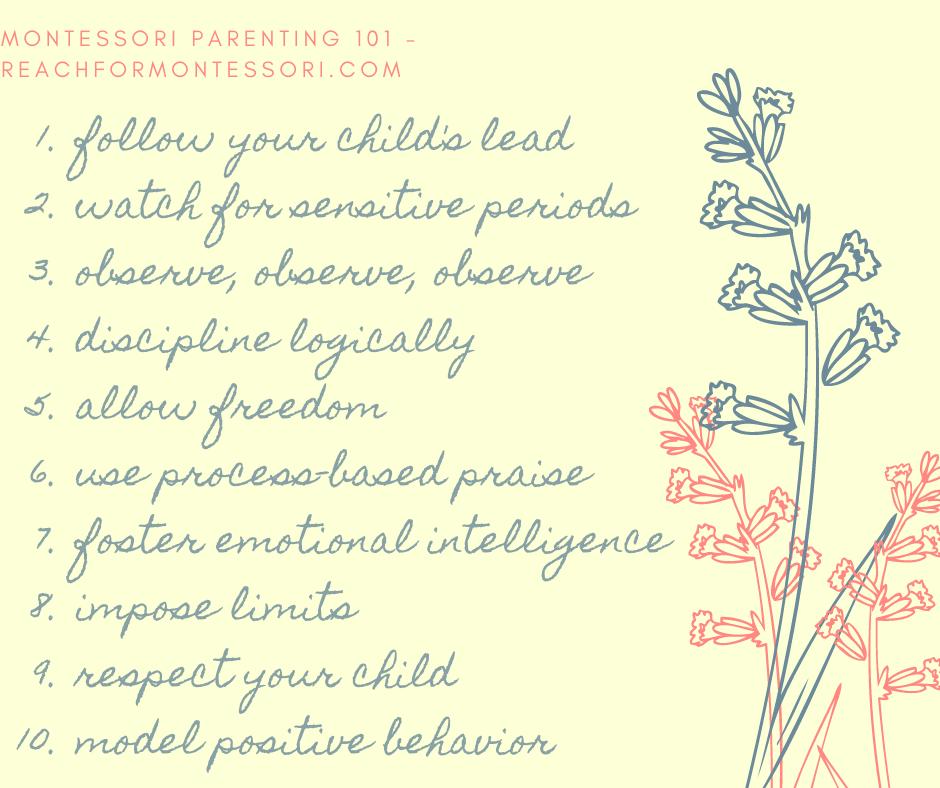 Image of Montessori parenting checklist.