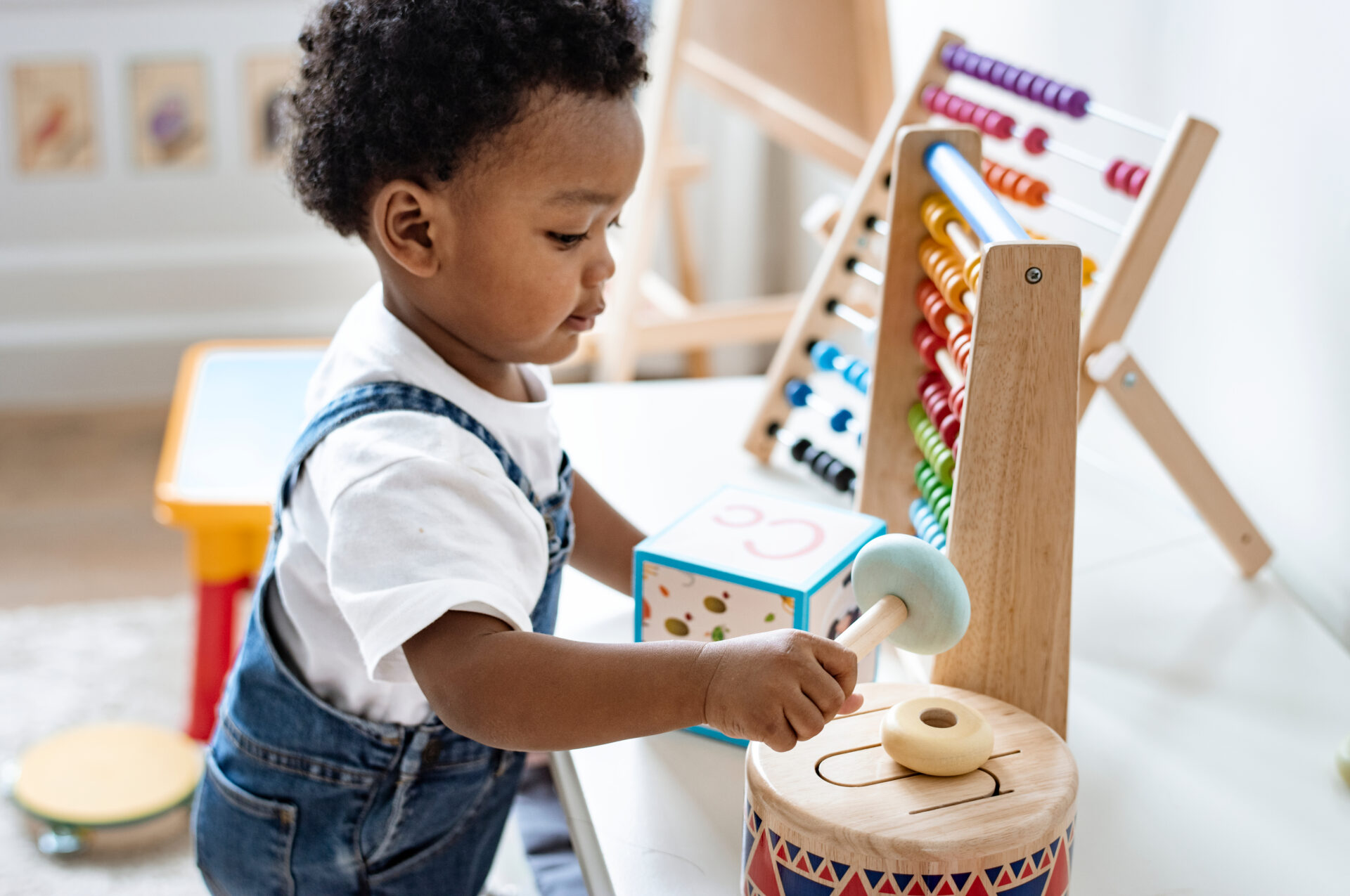 image of a child engaging in Montessori activities for 1-year-olds.