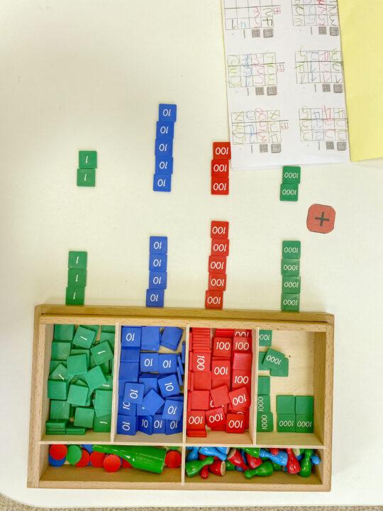 image of the Montessori Stamp Game Math materials.