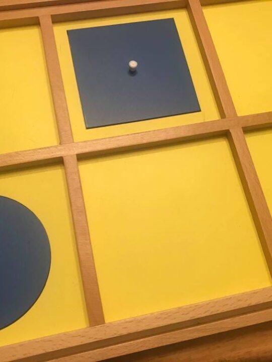 image of the Montessori Geometric Cabinet demonstration tray.