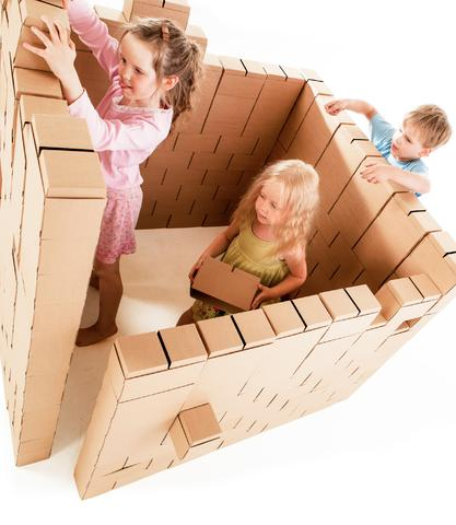 image of large cardboard building blocks.