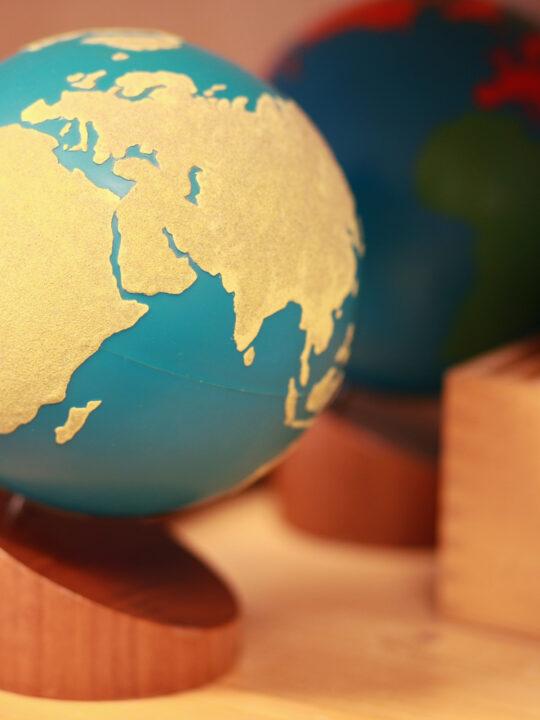 image of Montessori sandpaper globe.