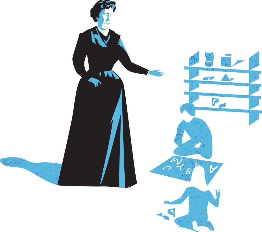 image of Maria Montessori and sample Montessori school.