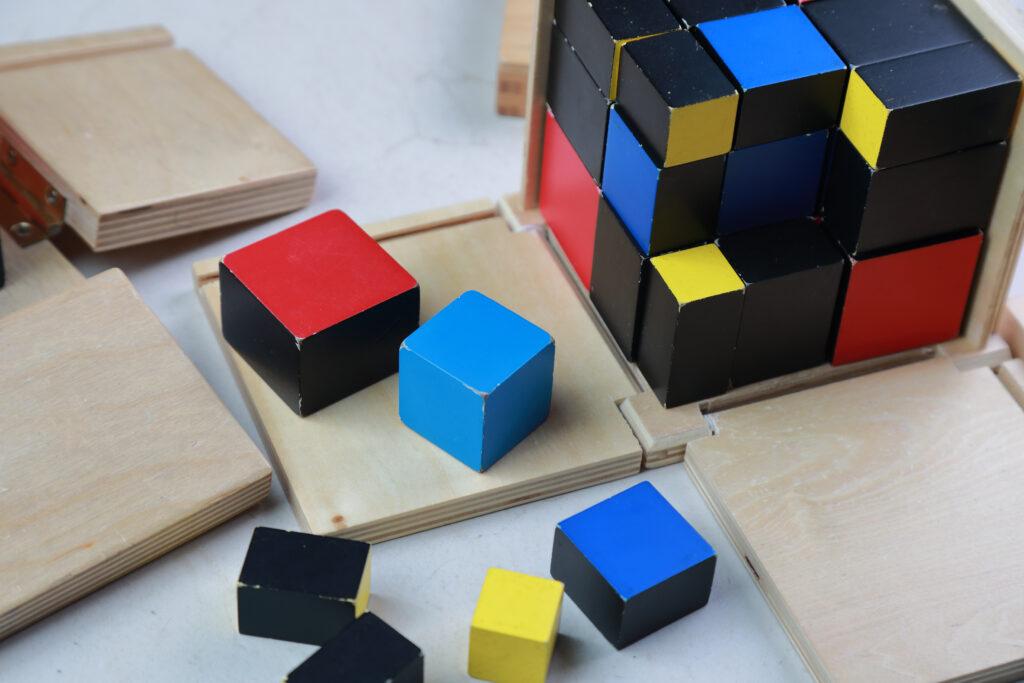 image of the Montessori trinomial cube.