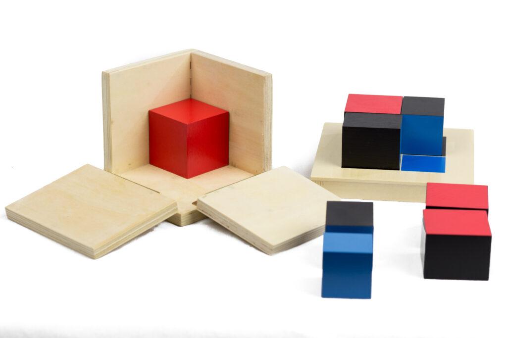 image of the Montessori binomial cube with white background.