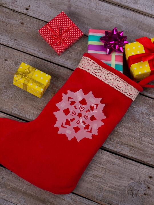 image of christmas stocking filled with Montessori stocking stuffers.
